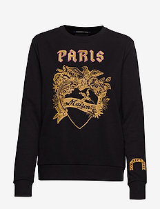 Crewneck sweat with toile artwork - BLACK