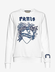 Crewneck sweat with toile artwork - WHITE