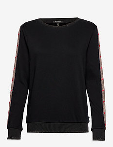 Crewneck sweat with flocked sleeve panel - BLACK