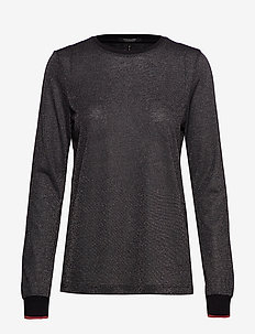 Lurex long sleeve tee with rib details - BLACK