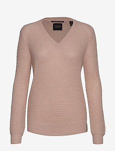 V-neck pull with lurex - BLUSH MELANGE