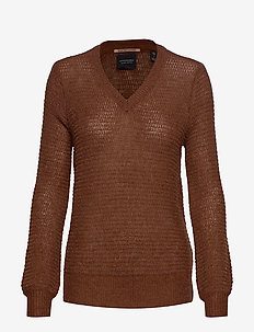 V-neck pull with lurex - CEDAR WOOD MELANGE