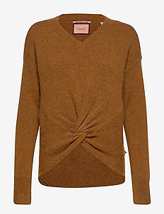 Crewneck knit with knot detail at hem - CAMEL MELANGE