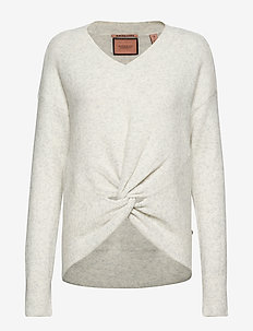 Crewneck knit with knot detail at hem - GREY MELANGE