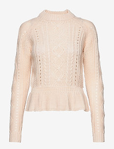 Chunky cable knit with peplum - OFF WHITE