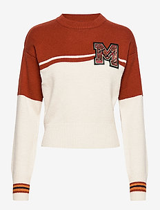 Varsity colour block sweater with badge - COMBO A