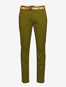 Ams Blauw stretch Stuart chino with belt - MILITARY GREEN
