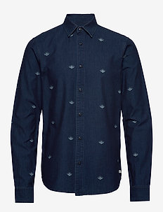 Indigo shirt with artworks - chemises en jean - combo b