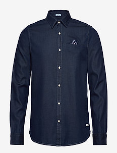 Long sleeve indigo shirt with pochet pocket - chemises basiques - combo a