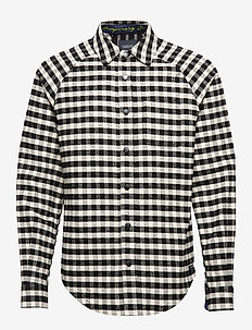 Long sleeve flannel check shirt with cut and sew - geruite overhemden - combo b