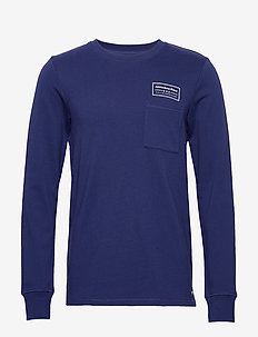 Crewneck sweat with contrast loops and chest pocket - basic sweatshirts - navy