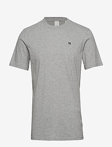 Cotton tee with wider neck rib - basic t-shirts - grey melange
