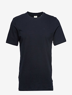 Cotton tee with wider neck rib - basic t-shirts - navy