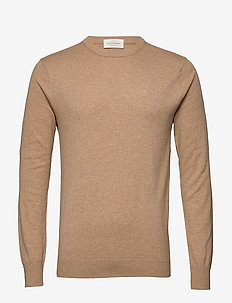 NOS Cotton cashmere crewneck knit - rund hals - camel melange