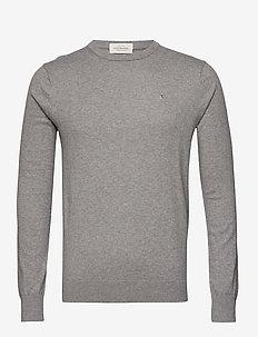 NOS Cotton cashmere crewneck knit - rund hals - grey melange
