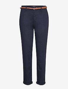 Ams Blauw chino in stretch twill with belt - MIDNIGHT