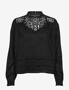 Feminine drapey top with special lace detailing - BLACK