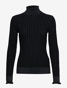 Turtle neck in knitted rib with details - NIGHT