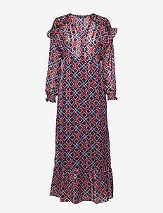 Sheer feminine maxi  dress with allover print - COMBO B
