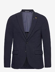 Classic half-lined summer seersucker blazer - enkeltradede blazere - midnight
