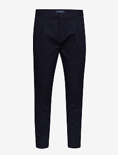 BLAKE- Pleated chino in special interlock quality - chinos - navy