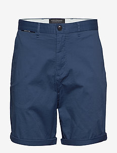 Mid length - Classic chino short in pima cotton quality - chinos shorts - worker blue