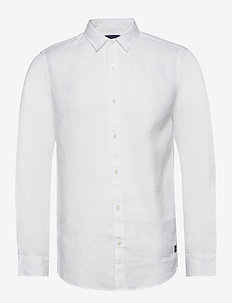 REGULAR FIT- Classic linen dress shirt - basic-hemden - white