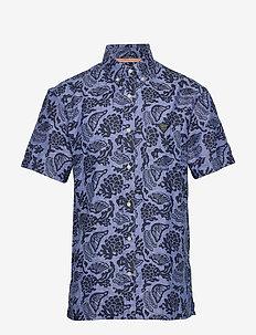 HAWAII FIT- All-over  printed linen shortsleeve shirt - hørskjorter - combo a