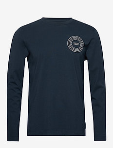 Organic cotton longsleeve tee with chest artwork - basic t-shirts - night