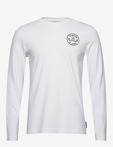 Organic cotton longsleeve tee with chest artwork - basic t-shirts - white