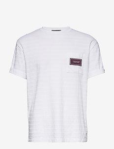 Relaxed crewneck tee in structured stripe pattern - podstawowe koszulki - off white