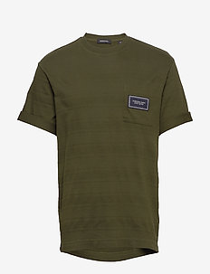 Relaxed crewneck tee in structured stripe pattern - podstawowe koszulki - utility green