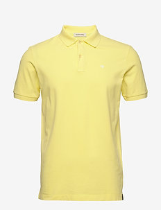 Garment-dyed stretch pique polo - kortærmede - bamboo yellow