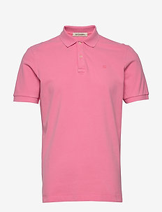 Garment-dyed stretch pique polo - kortærmede - hibiscus pink
