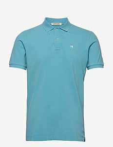 Garment-dyed stretch pique polo - kortærmede - hula blue