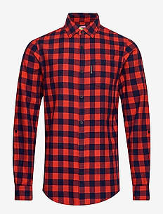 REGULAR FIT- Bright check flannel shirt with sleeve roll-up - COMBO A