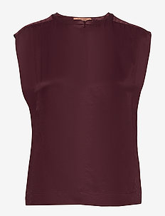 Sleeveless top in viscose quality - PLUM