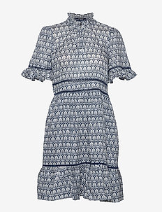 Printed dress with ladder lace - kort kjoler - combo a