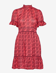 Printed dress with ladder lace - kort kjoler - combo d