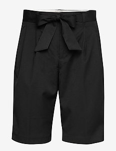 Longer length tailored shorts - bermudy - black