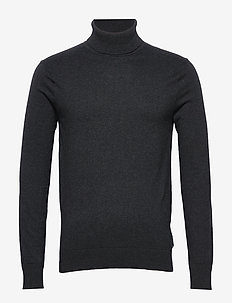 Ams Blauw cotton cashmere pull with turtle neck - basic strik - antra melange