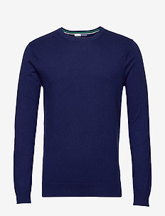 Ams Blauw cotton cashmere crew  neck pull - basic strik - sacre blue