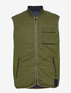 Light weight padded reversible bodywarmer - vester - military green