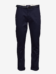 Stuart peached twill chino with give away belt - chinos - midnight