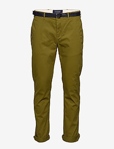 Stuart peached twill chino with give away belt - chinos - military green