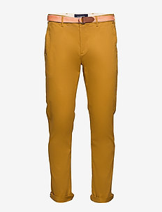 Stuart peached twill chino with give away belt - chinos - sandlewood