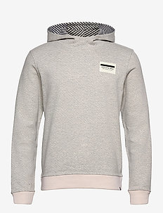 Reversible hooded sweat with chest print - basic sweatshirts - grey melange