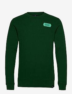 Crewneck sweat with subtle chest artworks - basic sweatshirts - jungle green