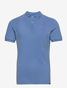 Garment dyed stretch polo - short-sleeved polos - infinite blue