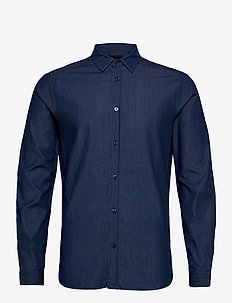 Clean denim tailor shirt - podstawowe koszulki - indigo